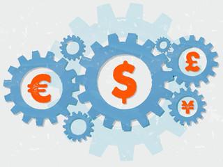 euro, dollar, pound and yen signs in grunge flat design gears