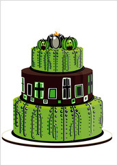 halloween cake green