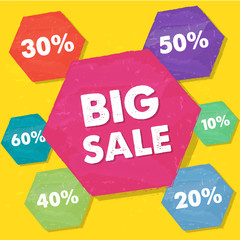 big sale and percentages in grunge flat design hexagons