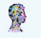 Colourful illustration of human head silhouette - 82767134