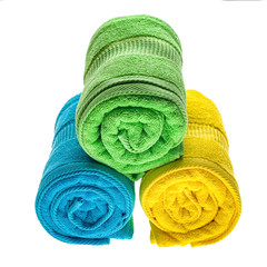 Towels pile isolated