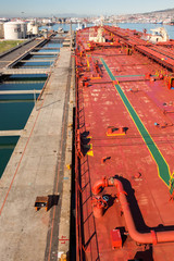 Moored to the berth crude oil tanker