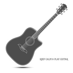 Acoustic guitar isolated. Keep calm and play guitar.