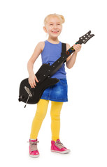 Cute small girl playing on electro guitar