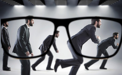 Focus on the numerous businessmen