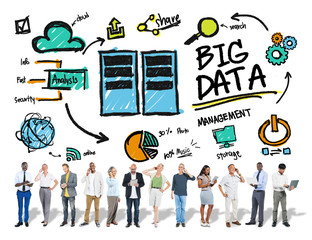 Diversity People Big Data Share Digital Devices Concept