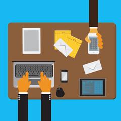 Team, work, business, flat, concept, vector, illustration