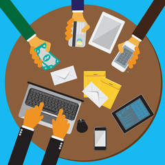 Team, work, flat, concept, vector, Illustration, business