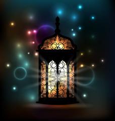 Arabic lantern with ornamental Pattern for Ramadan Kareem