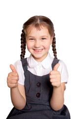 girl in school uniforms showing thumbs up
