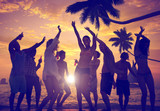 People Celebration Beach Party Summer Holiday Vacation Concept - Fine Art prints