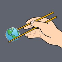 Chopsticks and the world grey background