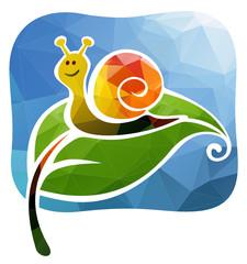 Cartoon happy snail on a green leaf.