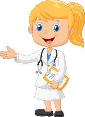 Cartoon doctor is explaining