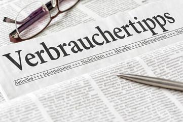 Zeitung mit der Überschrift Verbrauchertipps