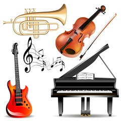 set of musical instruments trumpet, violin, piano and guitar