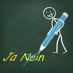 Kreidetafel Strichmännchen Stift Ja Nein