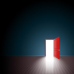 Red Door One Room Exit Light Open; Eps10