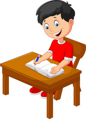 Cartoon little boy writing