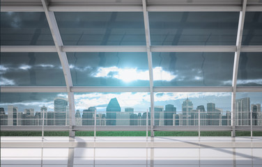 Cityscape outside window