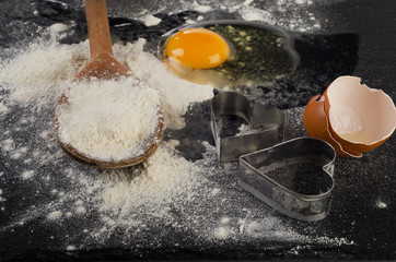 Baking background with eggs and flour.