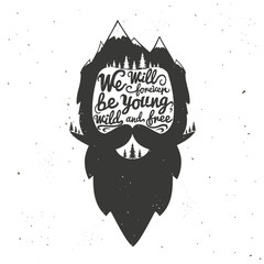 bearded man's head with quote