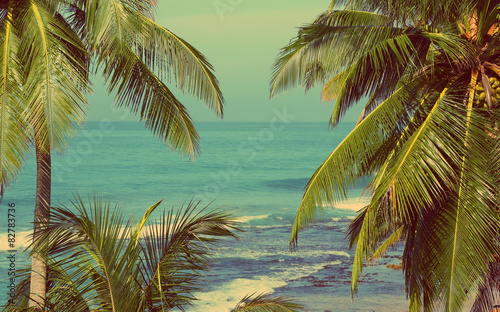sea landscape with palms - vintage retro style poster