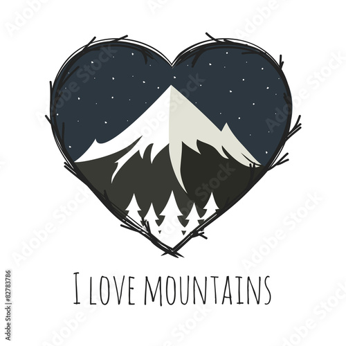 Vector illustration with mountains and night sky. Poster