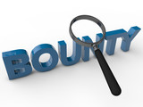 Bounty - 3D Text with magnifier over white Background poster