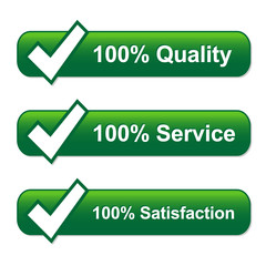 SATISFACTION QUALITY SERVICE icons with tick