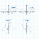 Sine, cosine, tangent, cotangent functions on notebook sheet