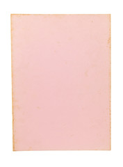 Old pink paper sheet isolated on white background