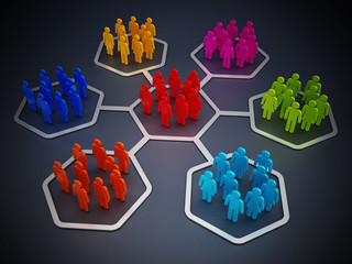 Multi-colored people in hexagons attached to each other