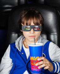 Girl Having Drink In 3D Cinema Theater