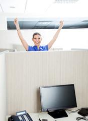Successful Customer Service Representative In Cubicle