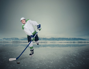 Ice Hockey player on the frozen Lake