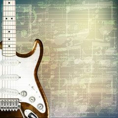 abstract grunge music background with electric guitar