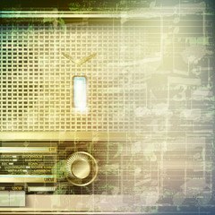 abstract grunge music background with retro radio