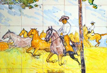 Cría de caballos andaluces, azulejo