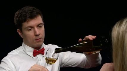 adult elegant man hold glass of wine, close up, indoor shot