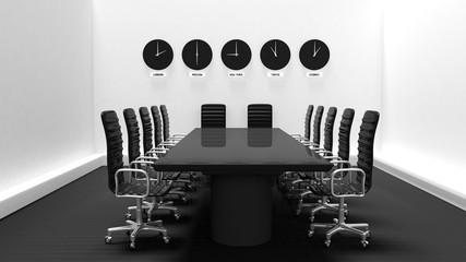 Interior of a meeting room with world clocks on a white wall