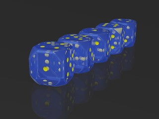 A row of dices on reflective surface