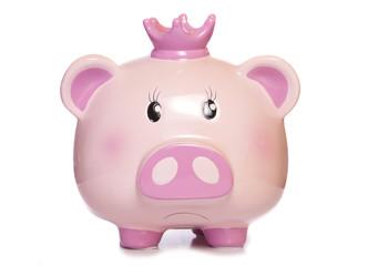 sad pink pig piggy bank