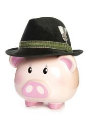 piggy bank wearing bavarian beer hat