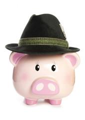piggy bank wearing bavarian hat