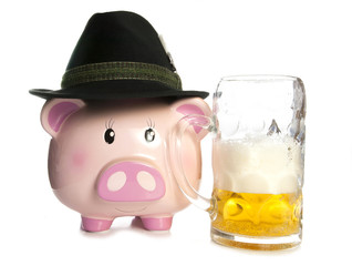 saving money at a beer festival piggy bank