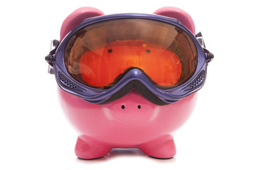 ski holiday deal piggy bank