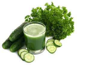 Glass of cucumber juice isolated on white