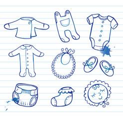 Infant clothes Icon set