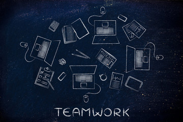 teawork: desk with laptops and shared business objects